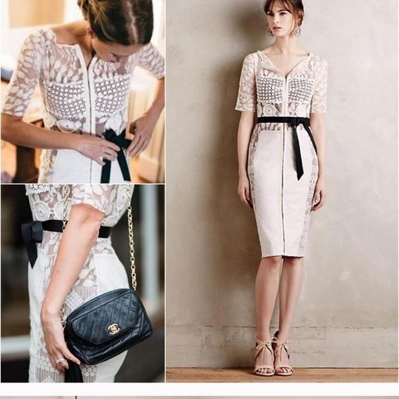 a5449380 Anthropologie Dresses & Skirts - Byron Lars carissima sheath cream dress  size 4